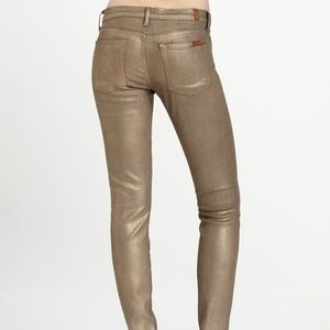 7 for all Mankind Gold Metallic Skinny Jeans Sz 27